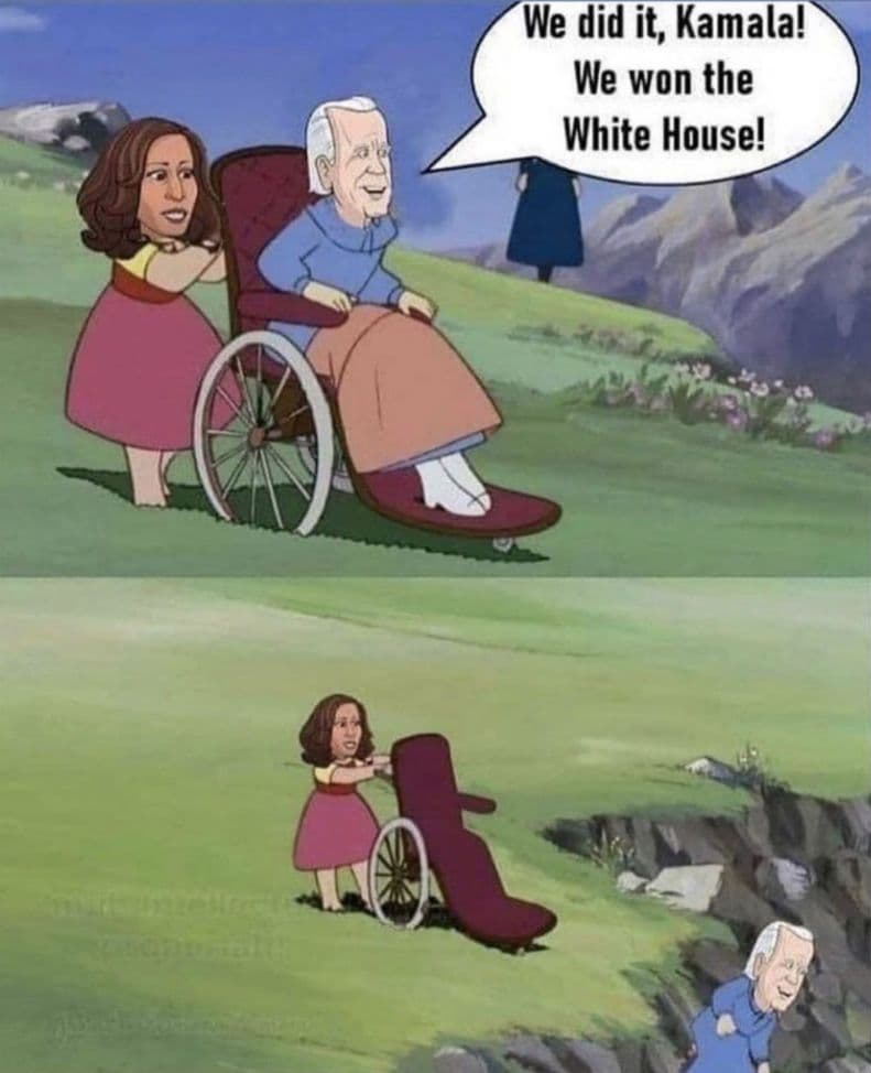 cartoon kamala with biden in wheelchair