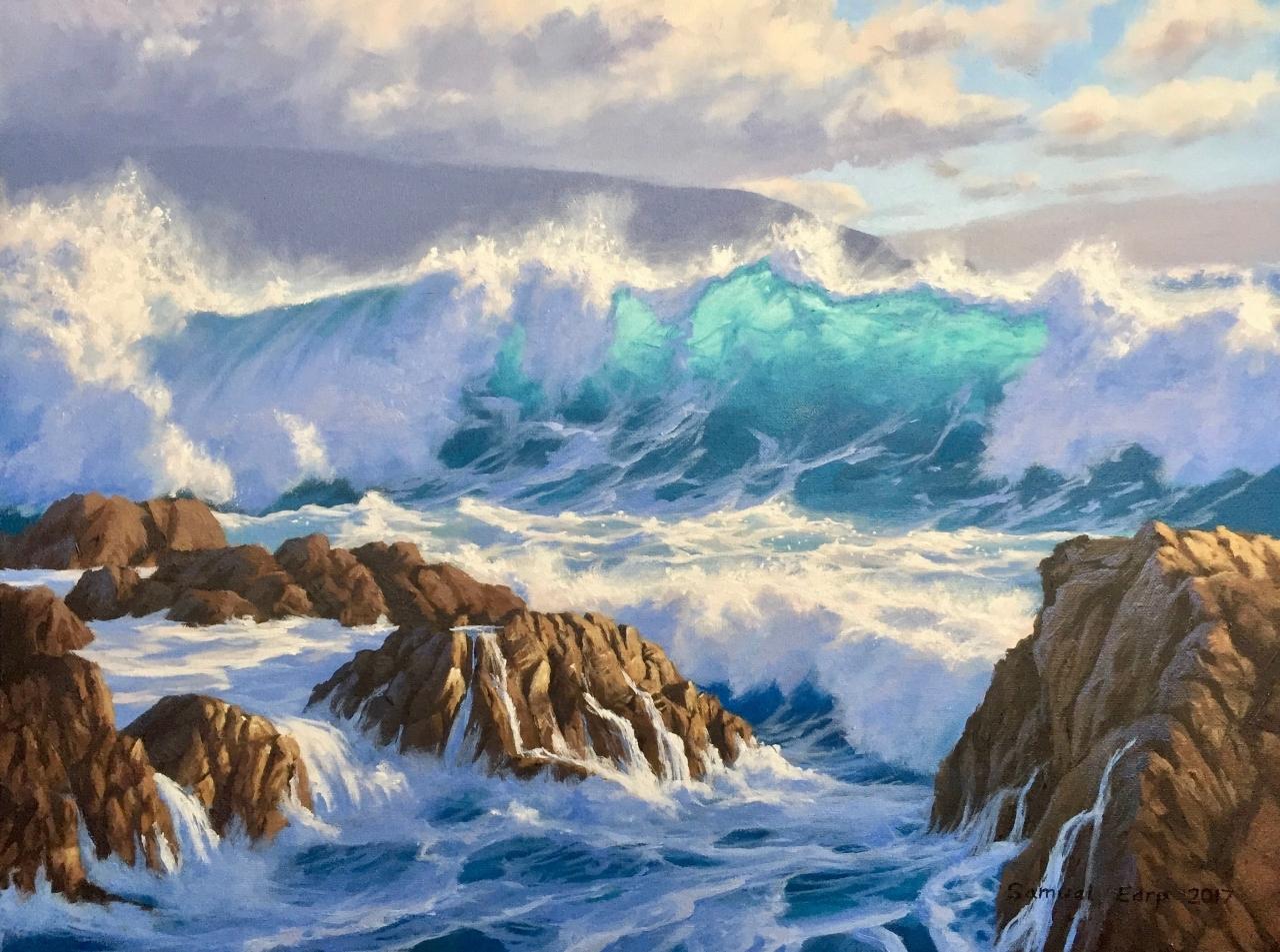 Wild Wellington Coast - seascape - Samuel Earp - oil painting