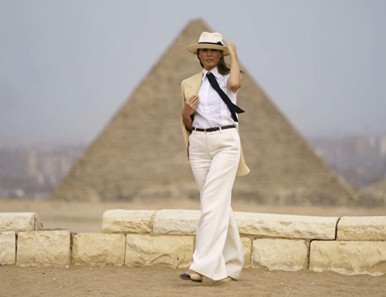 Melania Pyramids white hat