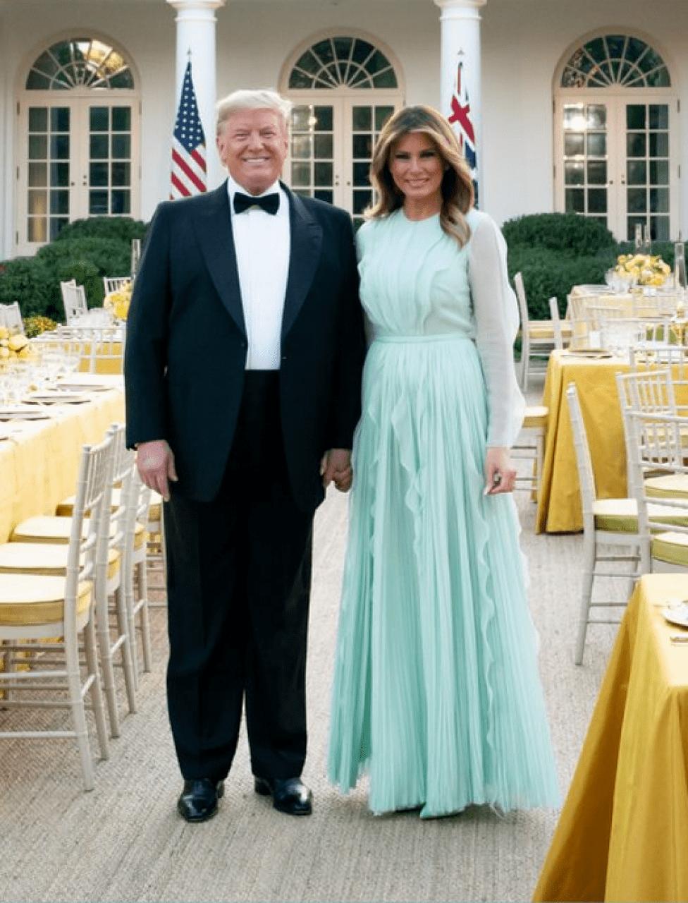 Melania Trump Australian Prime Minister Sept 20 2019 Pastel Green frock